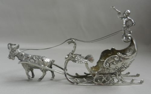antique silver goat sleigh model
