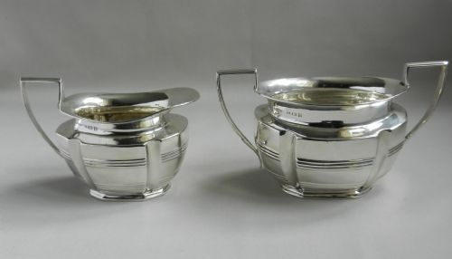 antique silver sugar cream set