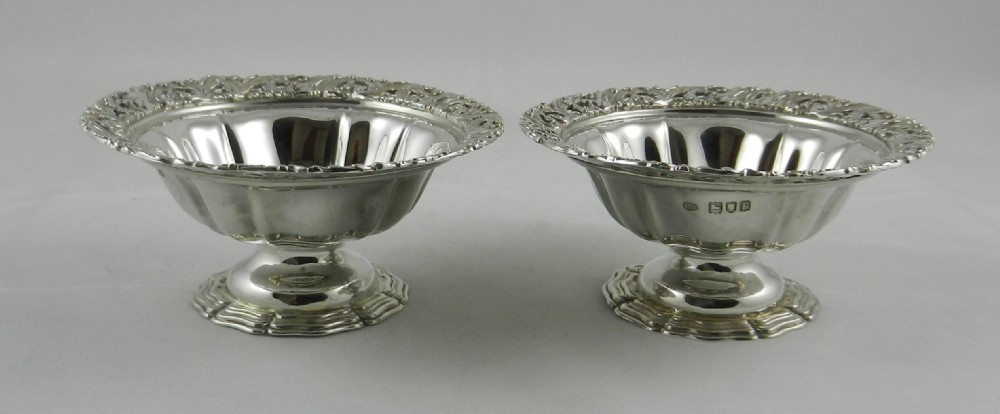 pair antique silver sweet dishes