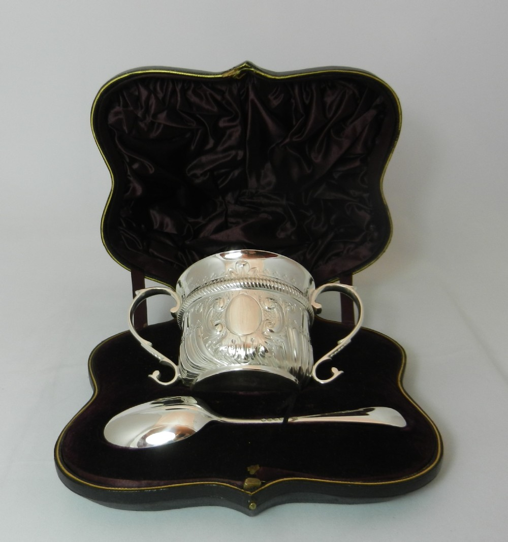 antique silver porringer spoon
