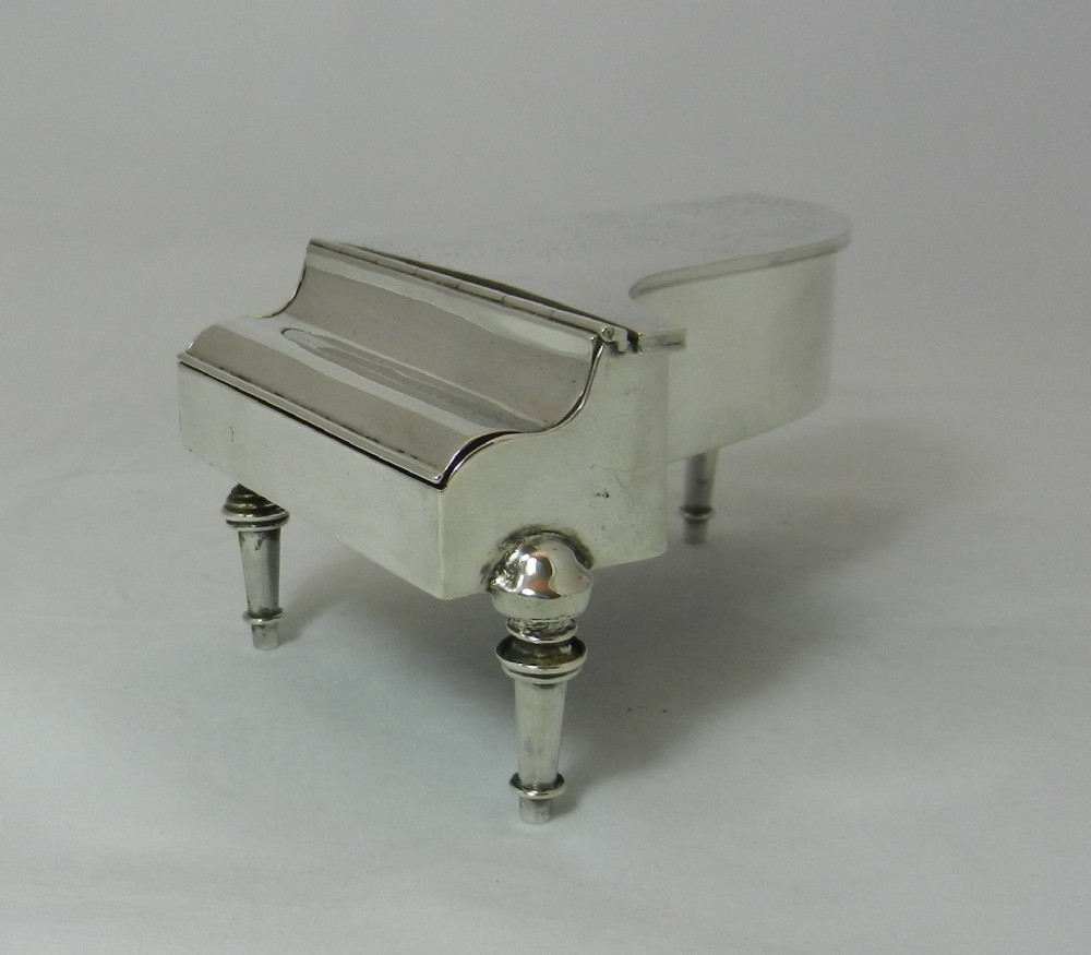 antique silver piano jewel casket