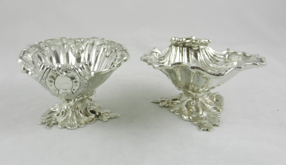 antique silver shell salts