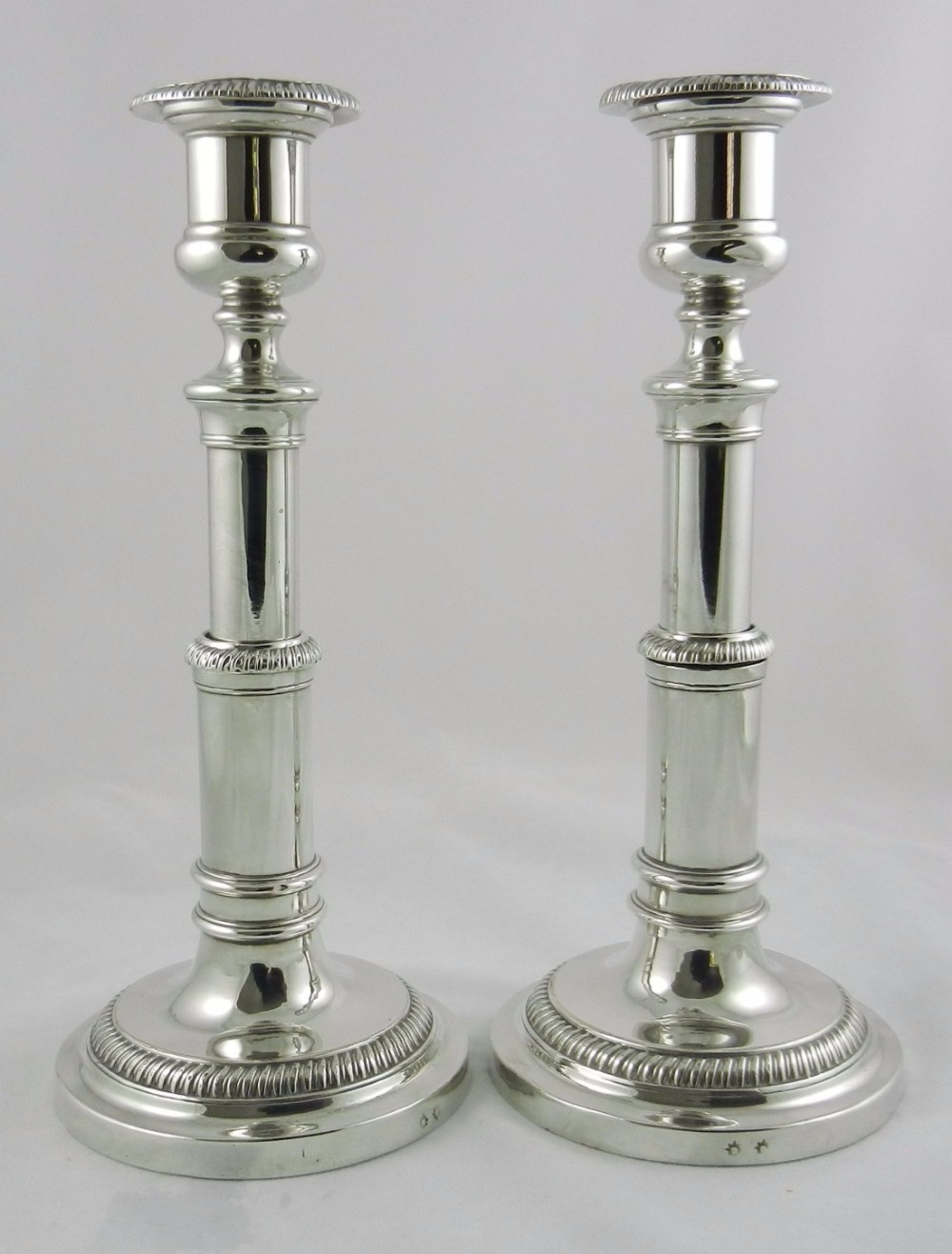 old sheffield plate telescopic candlesticks