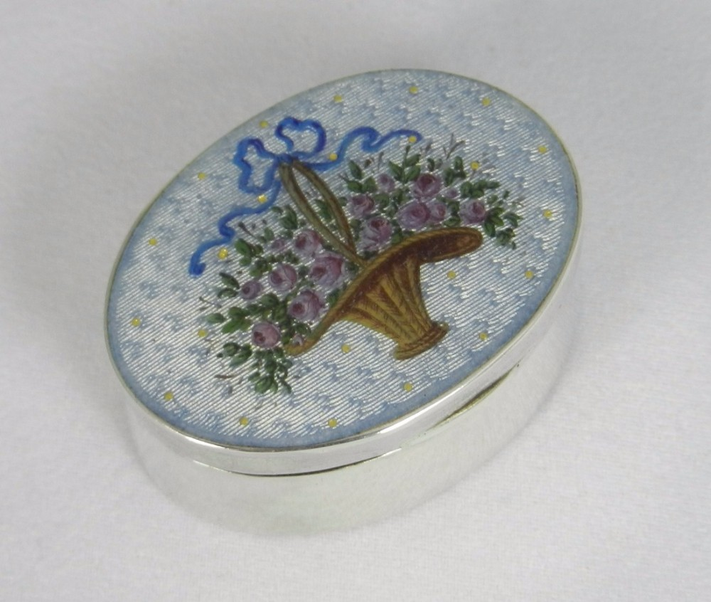 antique silver enamel box