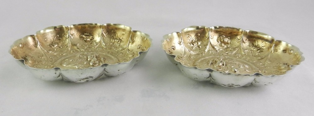 pair of antique silvergilt dishes