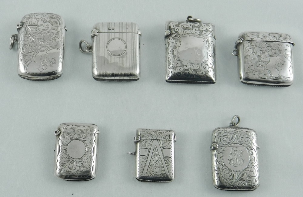 seven antique silver vestas 1896 to 1919